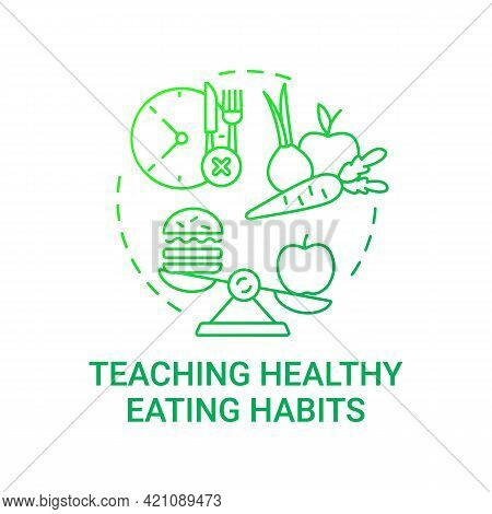 Teaching Healthy Eating Habits Concept Icon. School Meal Requirements. Improving Everyday Meals. Get
