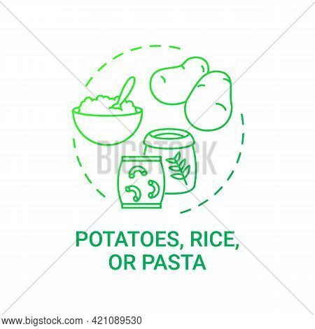 Potatoes, Rice Or Pasta Concept Icon. Healthy School Meal Components. Healthy Ingredients For School