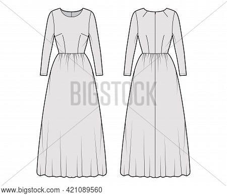 Dress Long Technical Fashion Illustration With Long Sleeve, Fitted Body, Floor Length Full Skirt. Fl