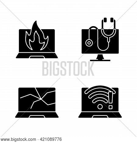 Computer Issues Black Glyph Icons Set On White Space. Crashed Monitor, Broken Display. No Wifi Conne