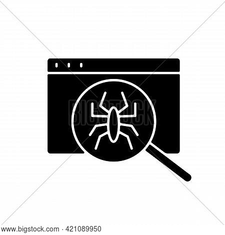 Computer Viruses Black Glyph Icon. Search For Bugs With Antivirus. Diagnostics Of Website. Pc Issue.