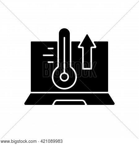Computer Overheating Black Glyph Icon. High Processor Temperature. Hot Notebook, Issue With Cooling