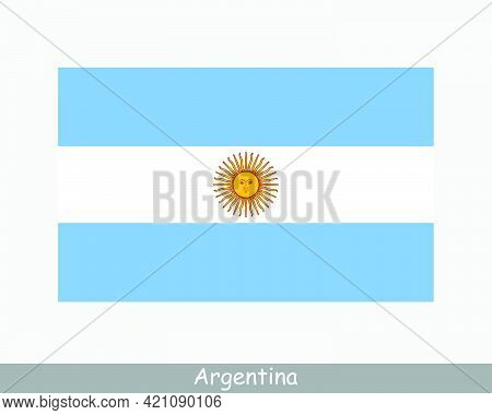 National Flag Of Argentina. Argentinian Country Flag. Argentine Republic Detailed Banner. Eps Vector
