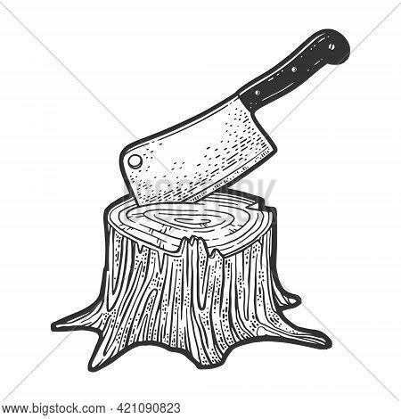 Kitchen Cleaver Hatchet Knife Stuck In Tree Stump Line Art Sketch Engraving Vector Illustration. T-s