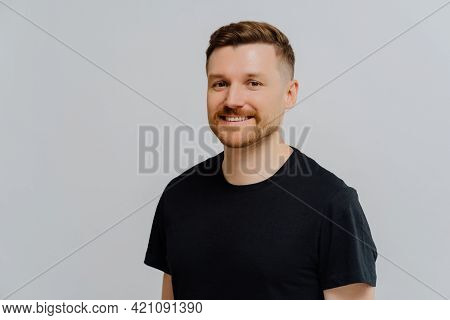 Portrait Of Happy Smiling Ginger Unshaved Man Expressing Positivity While Looking At Camera, Standin