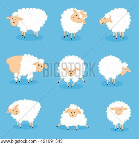 Funny Cute Little Sheep Cartoon Characters. A Set Of Sheep In Different Poses. Vector Illustration I