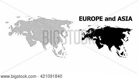 Polygonal Mesh Map Of Europe And Asia In High Detail Resolution. Mesh Lines, Triangles And Dots Form