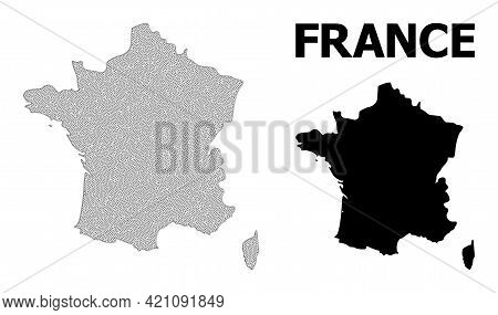Polygonal Mesh Map Of France In High Resolution. Mesh Lines, Triangles And Dots Form Map Of France.