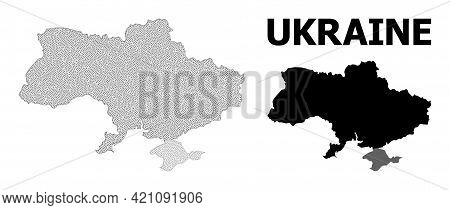Polygonal Mesh Map Of Ukraine In High Resolution. Mesh Lines, Triangles And Points Form Map Of Ukrai