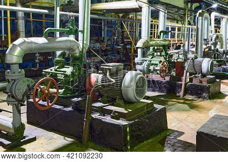 Petrochemical Plant Interior. Industrial Centrifugal Pumps Of Chemical Plant Or Petrochemical Plant