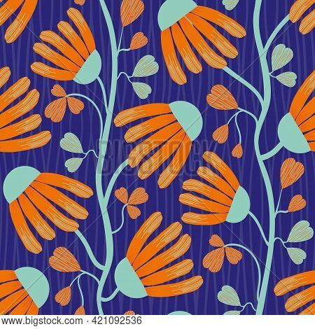 Modern Indian Floral Style Vector Seamless Pattern Background. Neon Orange And Blue Abstract Echinac