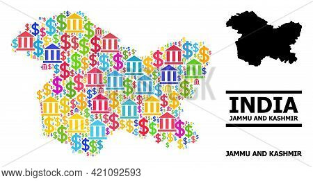 Colored Financial And Dollar Mosaic And Solid Map Of Jammu And Kashmir State. Map Of Jammu And Kashm