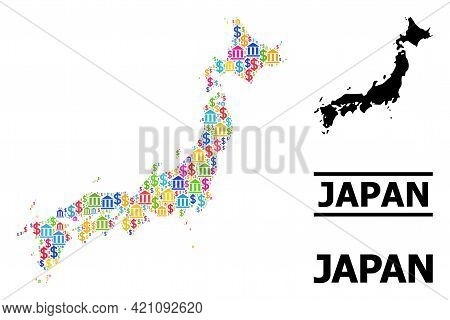 Multicolored Bank And Dollar Mosaic And Solid Map Of Japan. Map Of Japan Vector Mosaic For Business
