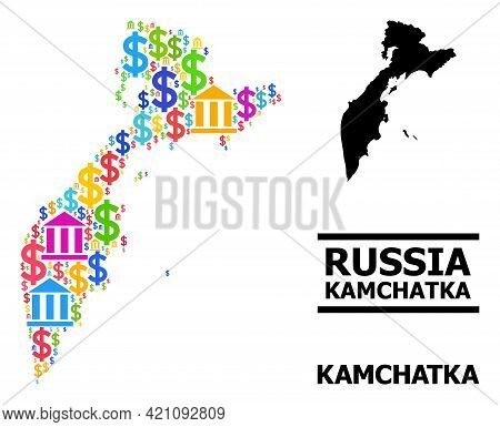Colorful Financial And Dollar Mosaic And Solid Map Of Kamchatka Peninsula. Map Of Kamchatka Peninsul