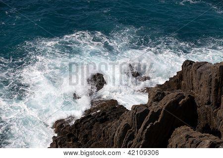 Cliffs in Riomaggiore. Cinque Terre Liguria Italy