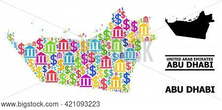 Multicolored Bank And Dollar Mosaic And Solid Map Of Abu Dhabi Emirate. Map Of Abu Dhabi Emirate Vec
