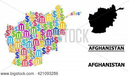 Colorful Bank And Business Mosaic And Solid Map Of Afghanistan. Map Of Afghanistan Vector Mosaic For