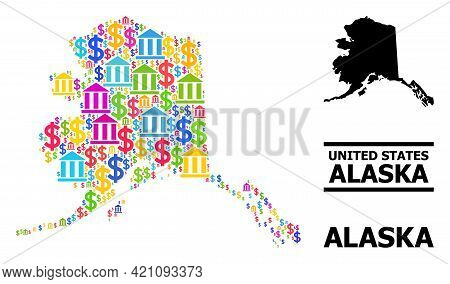 Colored Bank And Commerce Mosaic And Solid Map Of Alaska State. Map Of Alaska State Vector Mosaic Fo