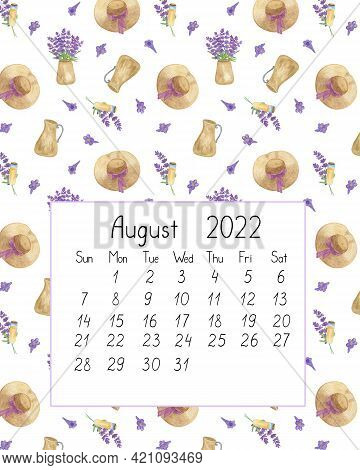 Calendar Page The Year 2022 For August Watercolor Floral Seamless Illustration, Printable Page, Hand