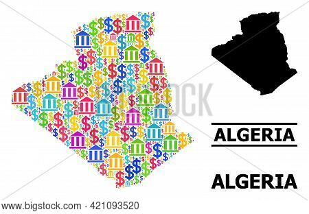 Colored Bank And Dollar Mosaic And Solid Map Of Algeria. Map Of Algeria Vector Mosaic For Business C