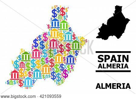 Bright Colored Bank And Dollar Mosaic And Solid Map Of Almeria Province. Map Of Almeria Province Vec