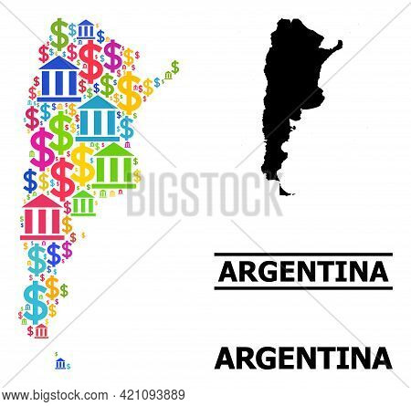 Bright Colored Bank And Commerce Mosaic And Solid Map Of Argentina. Map Of Argentina Vector Mosaic F