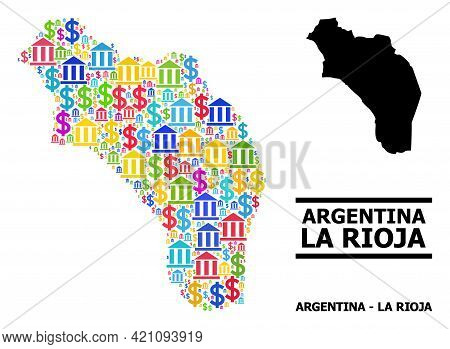 Bright Colored Bank And Money Mosaic And Solid Map Of Argentina - La Rioja. Map Of Argentina - La Ri