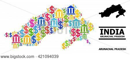 Colored Bank And Dollar Mosaic And Solid Map Of Arunachal Pradesh State. Map Of Arunachal Pradesh St