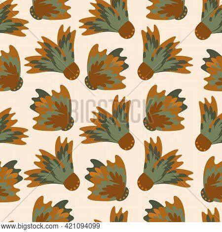 Wild Meadowflower Blossom Seamless Vecor Pattern Background. Ochre And Sage Green Painterly Floral M