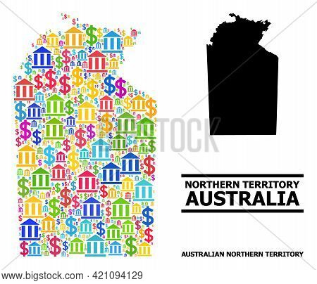 Colored Bank And Dollar Mosaic And Solid Map Of Australian Northern Territory. Map Of Australian Nor