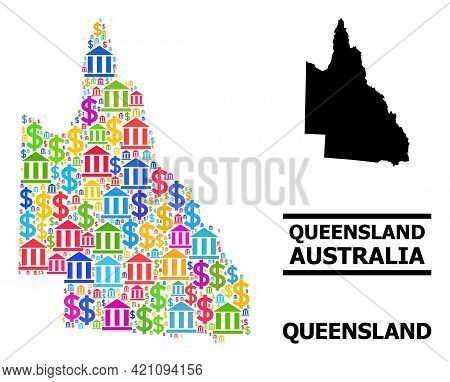 Bright Colored Bank And Commerce Mosaic And Solid Map Of Australian Queensland. Map Of Australian Qu