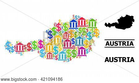 Vibrant Banking And Dollar Mosaic And Solid Map Of Austria. Map Of Austria Vector Mosaic For Promoti