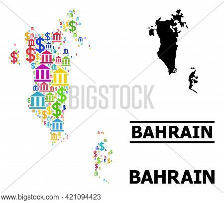 Multicolored Bank And Dollar Mosaic And Solid Map Of Bahrain. Map Of Bahrain Vector Mosaic For Promo