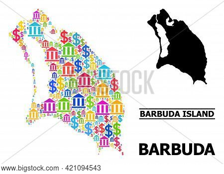 Vibrant Bank And Money Mosaic And Solid Map Of Barbuda Island. Map Of Barbuda Island Vector Mosaic F