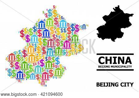 Colored Bank And Dollar Mosaic And Solid Map Of Beijing Municipality. Map Of Beijing Municipality Ve