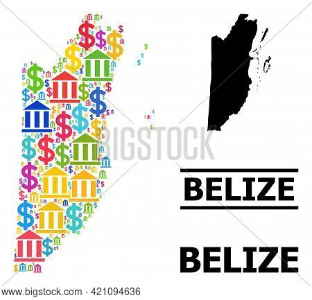Vibrant Bank And Dollar Mosaic And Solid Map Of Belize. Map Of Belize Vector Mosaic For Ads Campaign