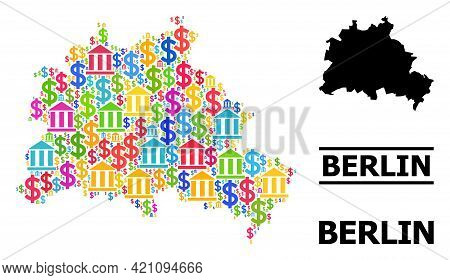 Colored Bank And Money Mosaic And Solid Map Of Berlin City. Map Of Berlin City Vector Mosaic For Bus