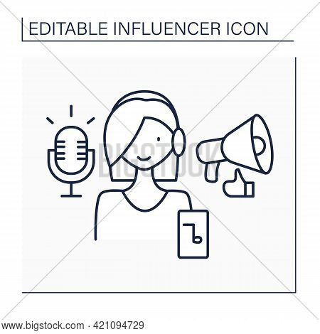 Podcaster Influencer Line Icon. Woman Makes Audio Or Video Recordings. Share On Online Platform, App