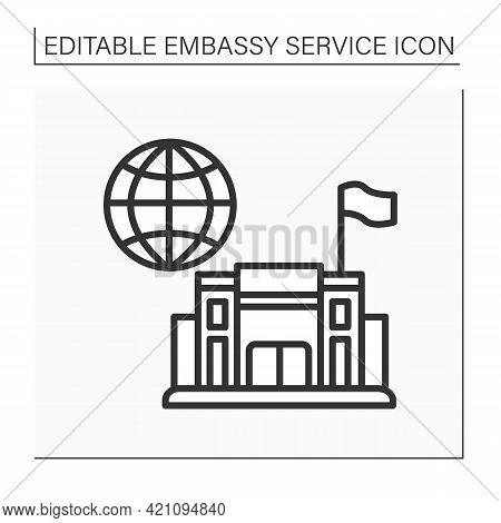 Consulate Line Icon. Office Or Consul Jurisdiction. Foreign Government. Diplomatic Mission. Embassy