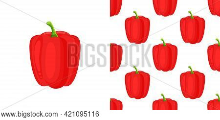 Red Paprika Pepper Seamless Pattern. Vector Decorative Design For Backdrops, Wrapping Paper, Fabric