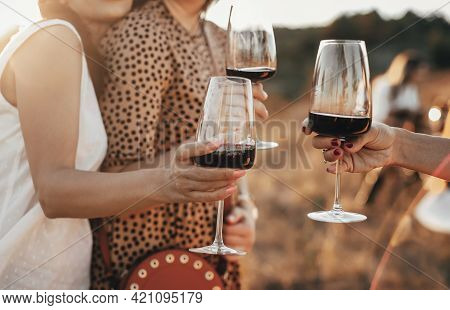Crop Anonymous Female Friends Toasting With Glasses Of Red Wine During Outdoor Party In Summer Eveni