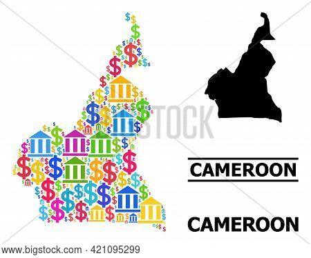 Multicolored Bank And Dollar Mosaic And Solid Map Of Cameroon. Map Of Cameroon Vector Mosaic For Gdp