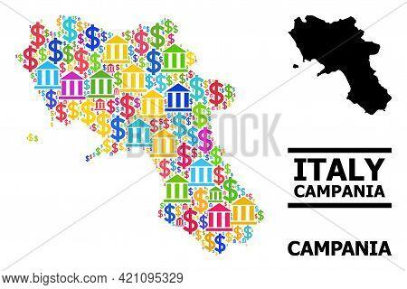 Vibrant Banking And Dollar Mosaic And Solid Map Of Campania Region. Map Of Campania Region Vector Mo
