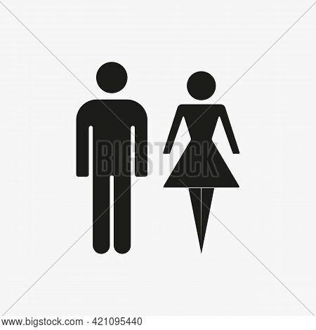 Man And Woman Of Black Color. Vector Toilet Restroom Icon On White Background
