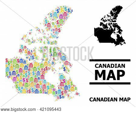 Colorful Banking And Dollar Mosaic And Solid Map Of Canada. Map Of Canada Vector Mosaic For Advertis
