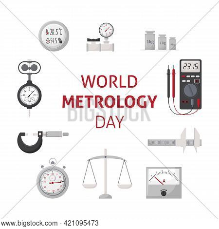 World Metrology Day. May 20. Banner With Measuring Instruments. Template For Background, Banner, Car