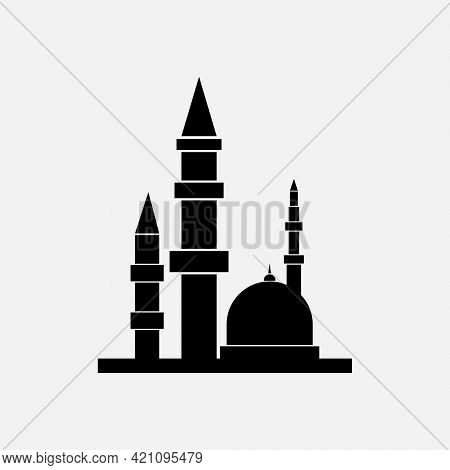 Islamic Logo Of Black Color. Vector Islamic Mosque Icon On White Background