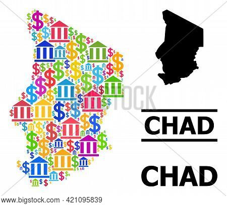 Bright Colored Bank And Business Mosaic And Solid Map Of Chad. Map Of Chad Vector Mosaic For Ads Cam