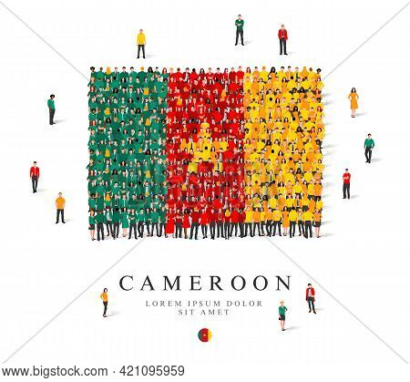 A Large Group Of People Are Standing In Green, Yellow And Red Robes, Symbolizing The Flag Of Cameroo