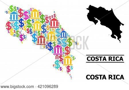 Bright Colored Bank And Business Mosaic And Solid Map Of Costa Rica. Map Of Costa Rica Vector Mosaic